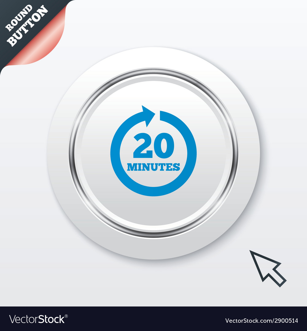 Every 20 minutes sign icon full rotation arrow vector | Price: 1 Credit (USD $1)