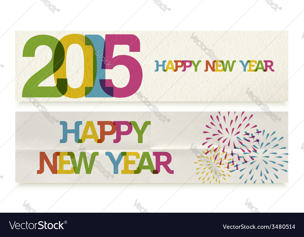 Happy new year 2015 folded paper banners set vector | Price: 1 Credit (USD $1)