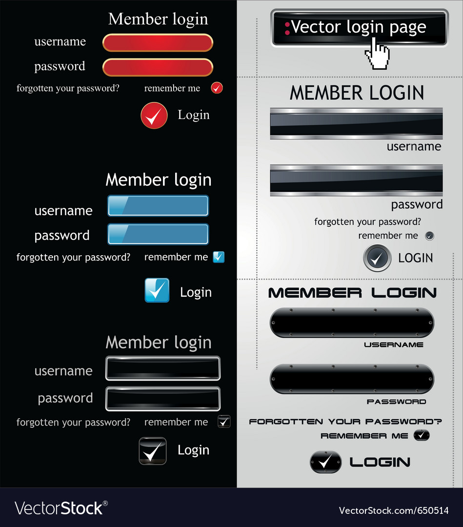 Login page template vector | Price: 1 Credit (USD $1)