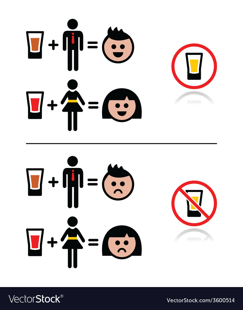 People drinking alcohol - sad and happy face icons vector | Price: 1 Credit (USD $1)