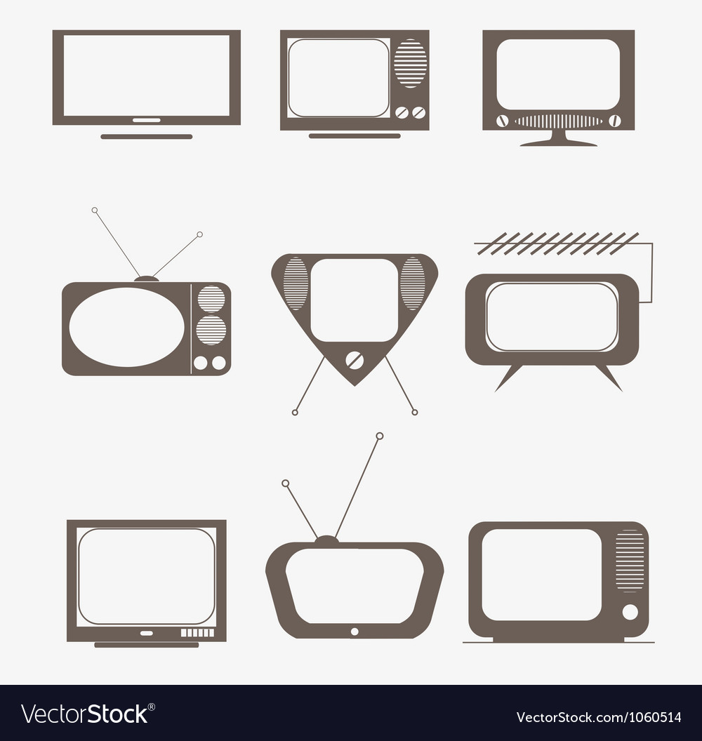 Retro tv icons set vector | Price: 1 Credit (USD $1)