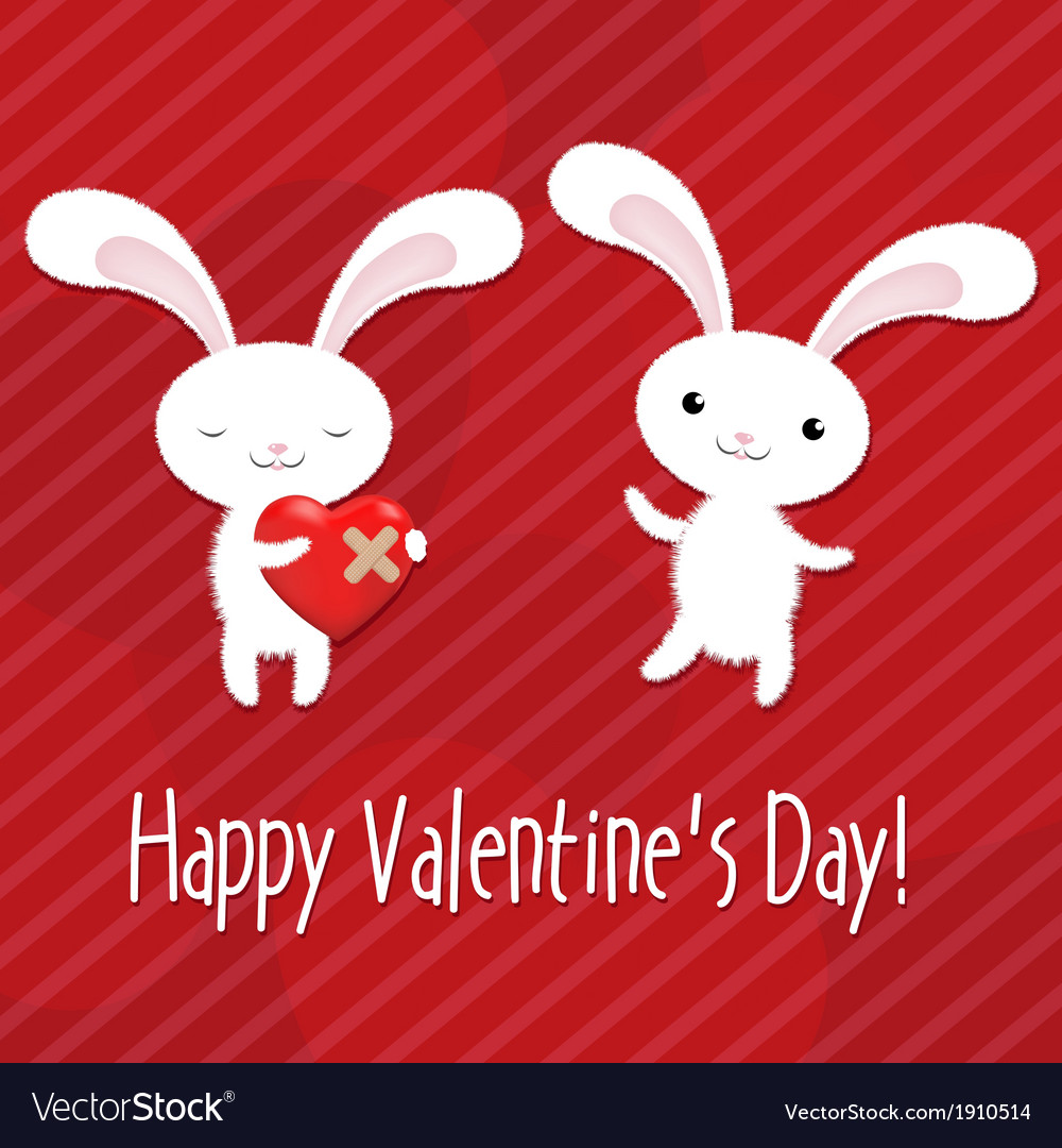 Valentines day card with rabbits vector | Price: 1 Credit (USD $1)