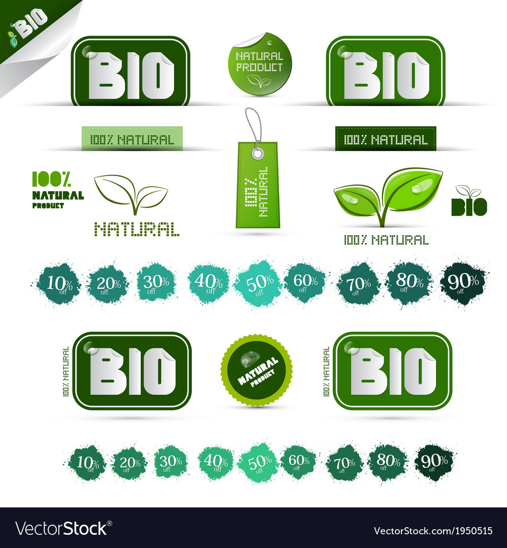 Bio - natural product green labels - tags - vector | Price: 1 Credit (USD $1)