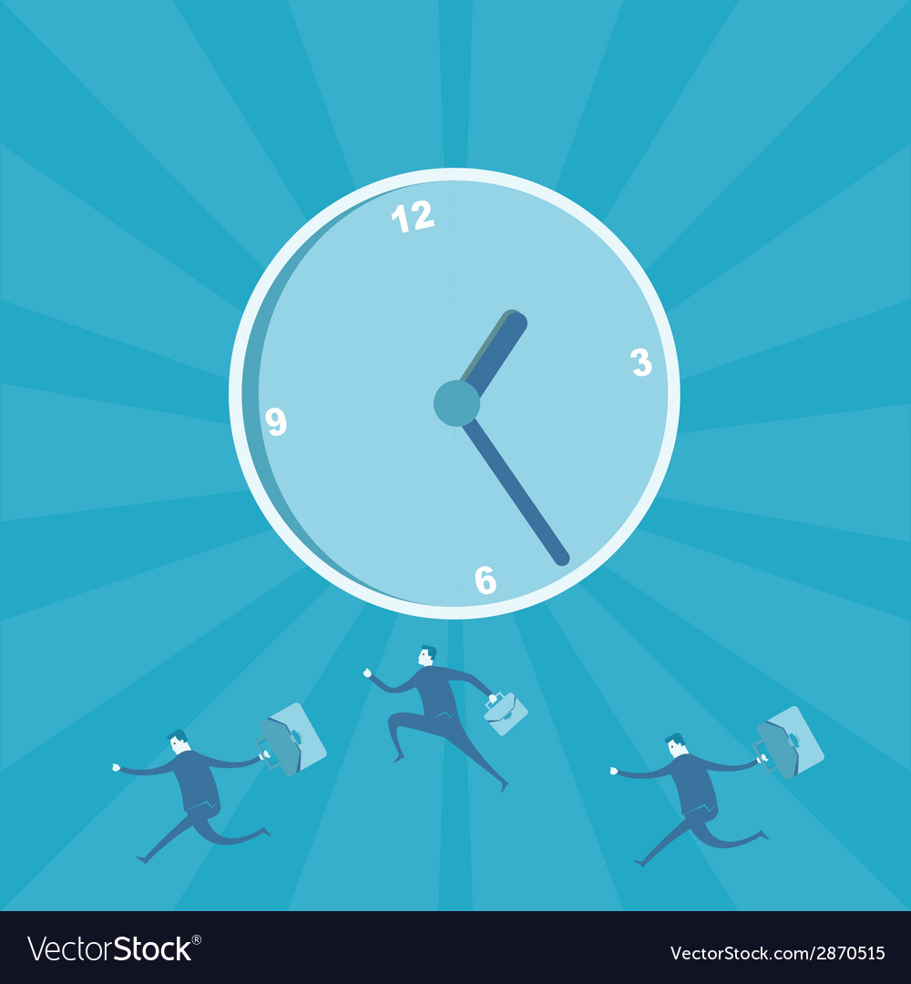 Business man running for time management vector | Price: 1 Credit (USD $1)