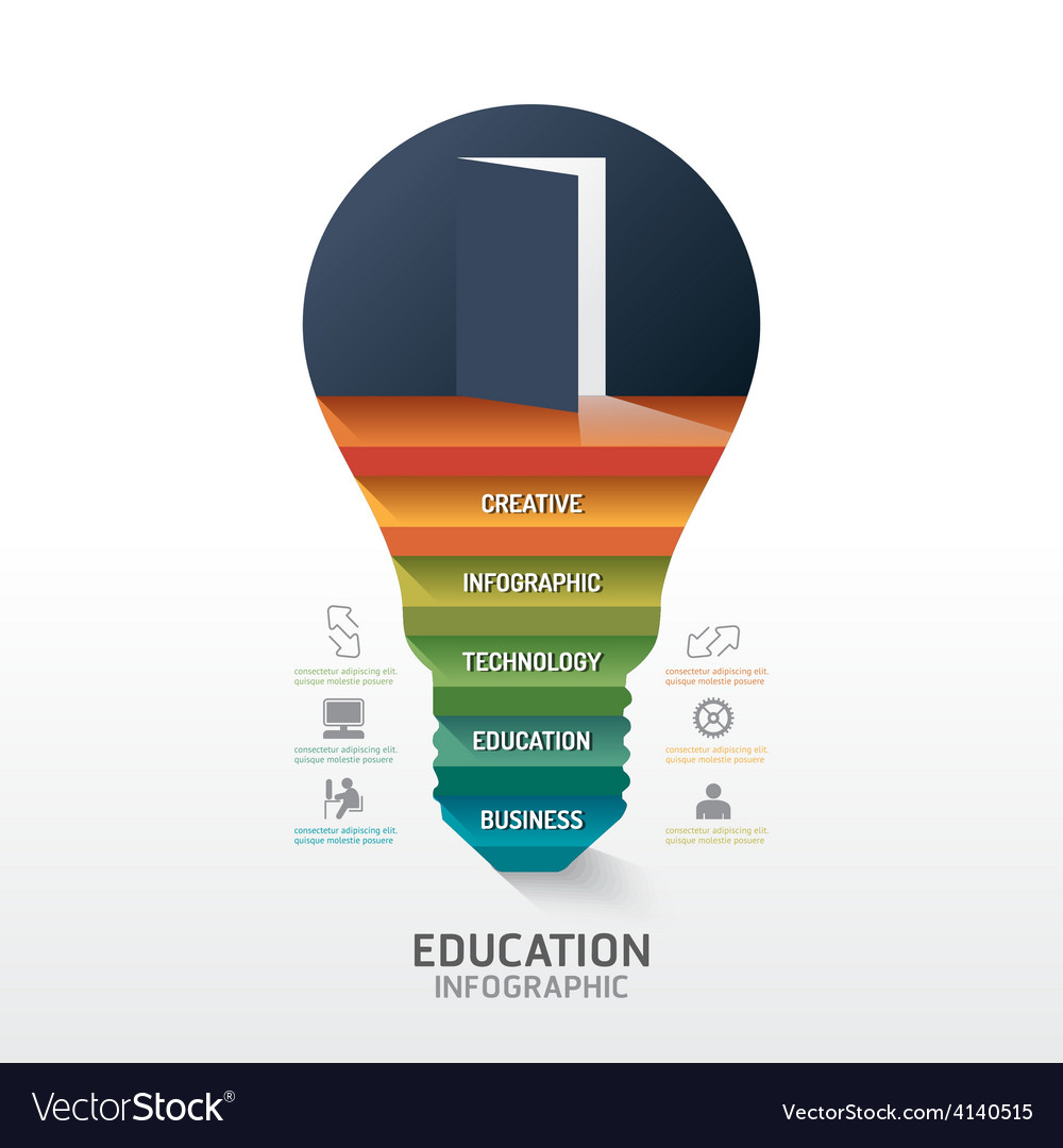Infographic step on light bulb shape idea success vector | Price: 3 Credit (USD $3)