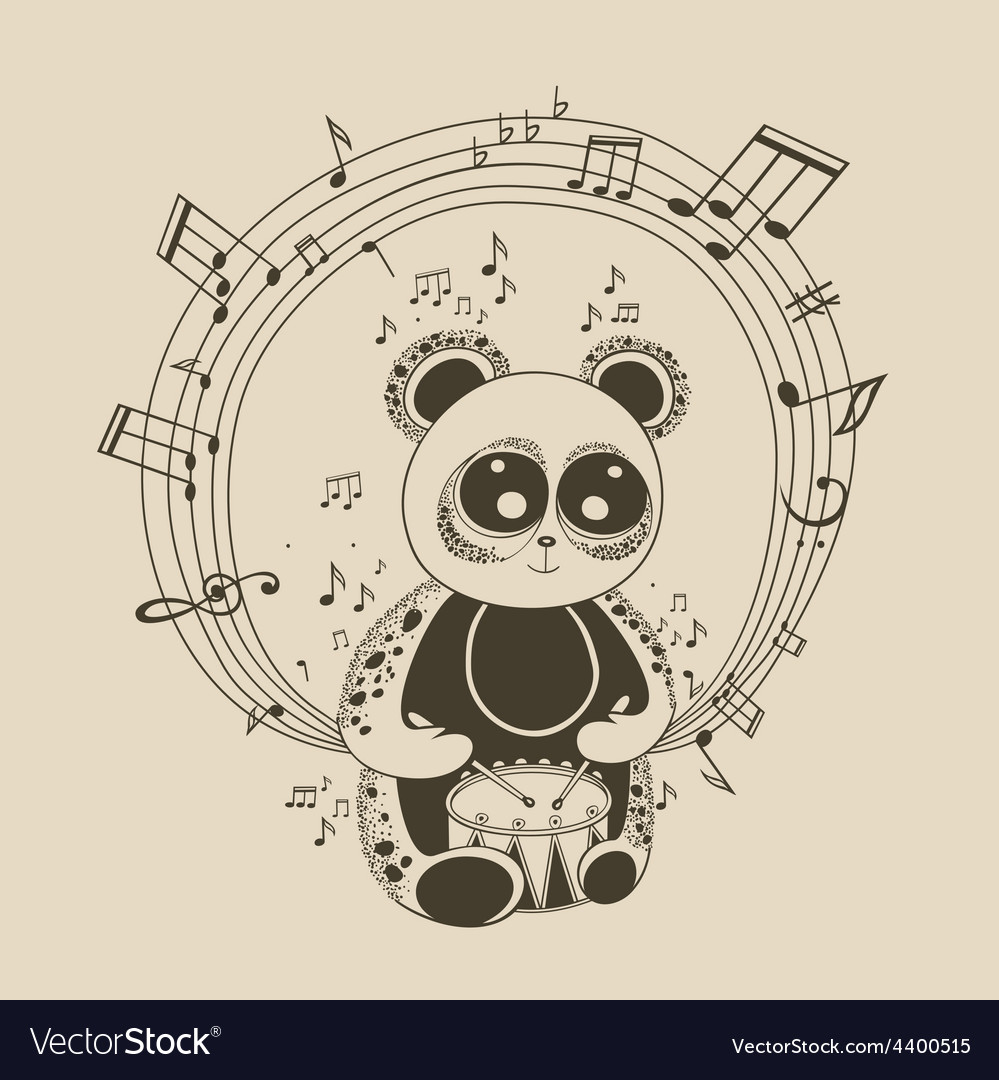 Panda musician vector | Price: 1 Credit (USD $1)