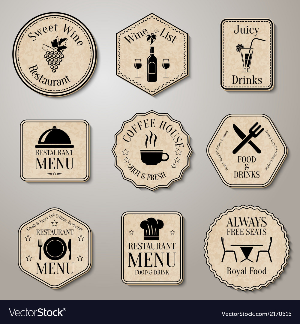 Restaurant menu labels vector | Price: 1 Credit (USD $1)