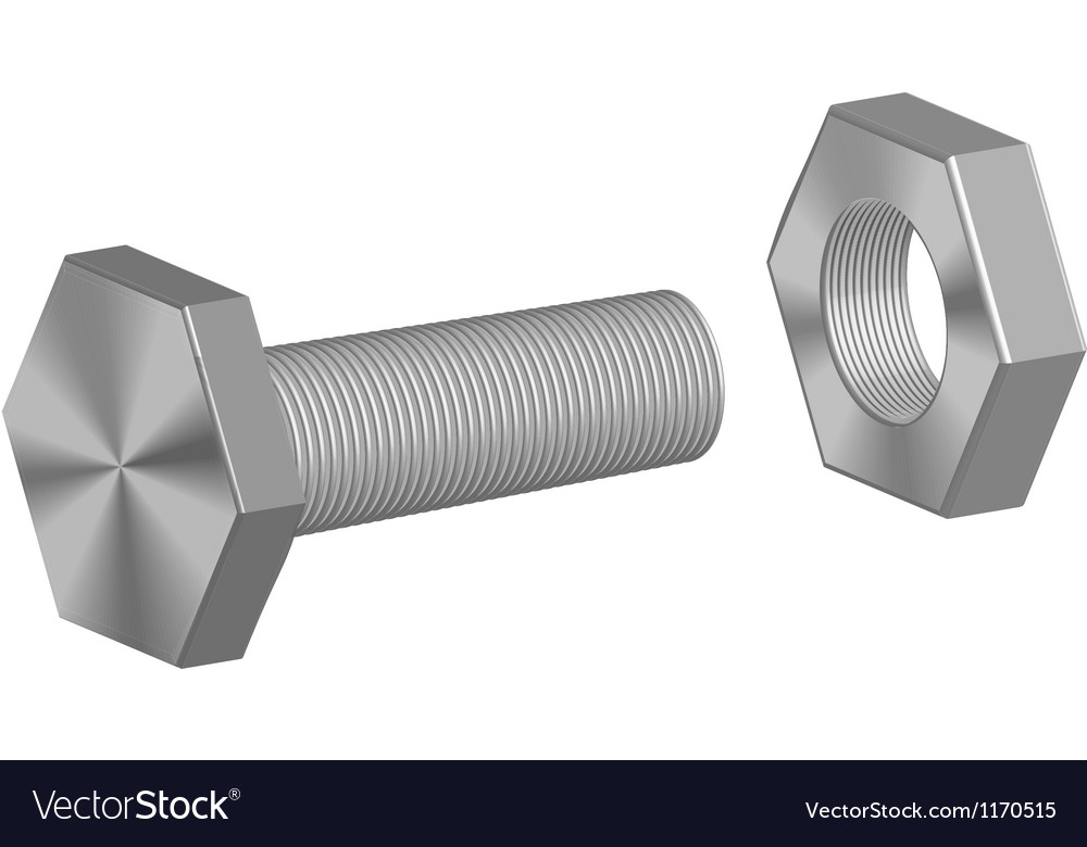 Screw-bolt and nut vector | Price: 1 Credit (USD $1)