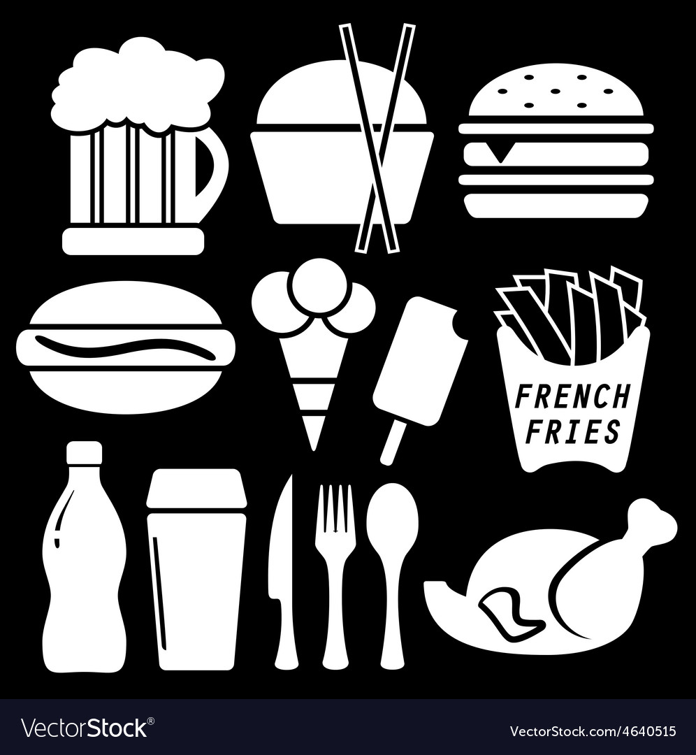 Set fast food isolated icon vector | Price: 1 Credit (USD $1)