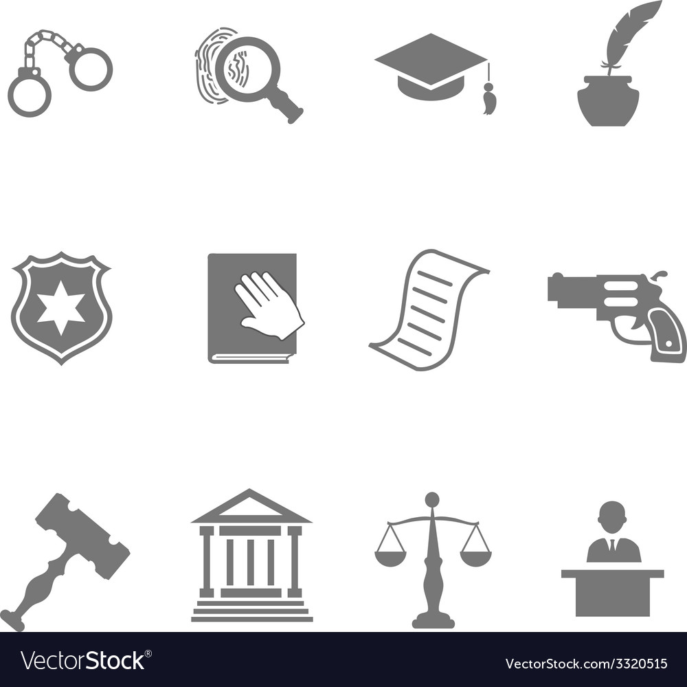 Set of black and white silhouette justice and vector | Price: 1 Credit (USD $1)
