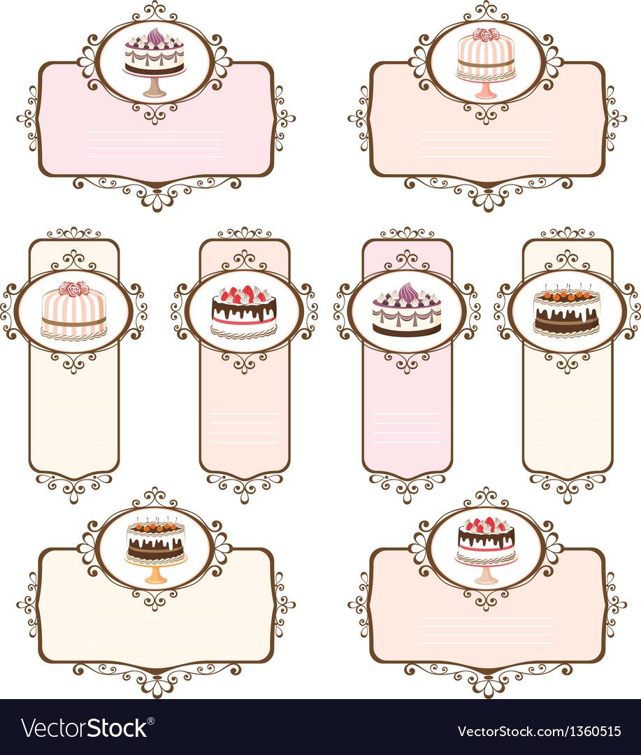 Set of labels with cakes vector | Price: 1 Credit (USD $1)