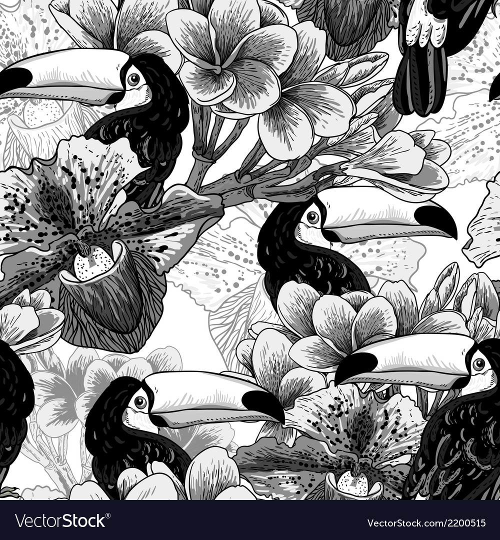 Tropical seamless parrern with flowers and toucan vector | Price: 1 Credit (USD $1)
