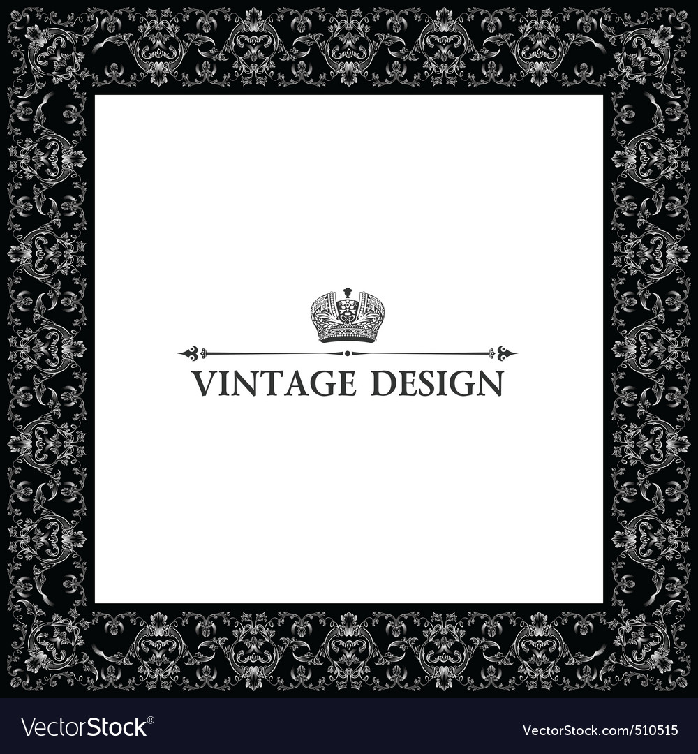 vintage royal retro frame ornament black vector | Price: 1 Credit (USD $1)