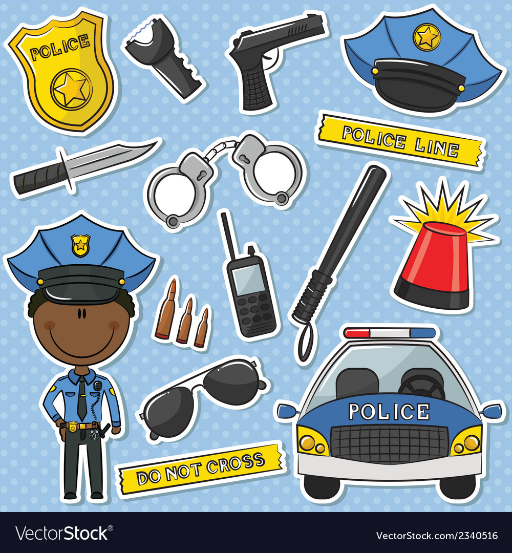 African-american police officer vector | Price: 1 Credit (USD $1)