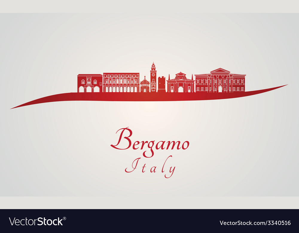 Bergamo skyline in red vector | Price: 1 Credit (USD $1)