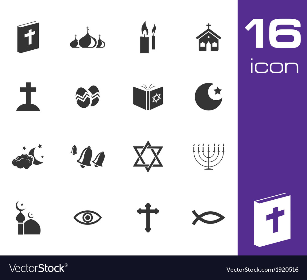 Black religion icons set vector | Price: 1 Credit (USD $1)