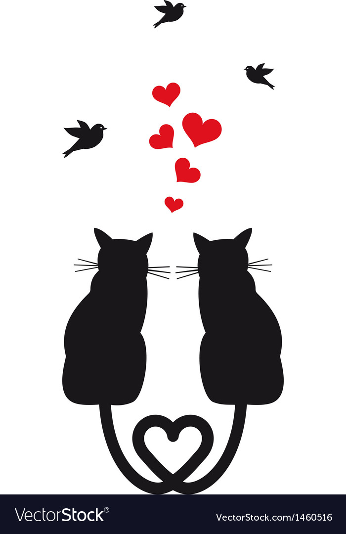 Cats in love with hearts and birds vector | Price: 1 Credit (USD $1)