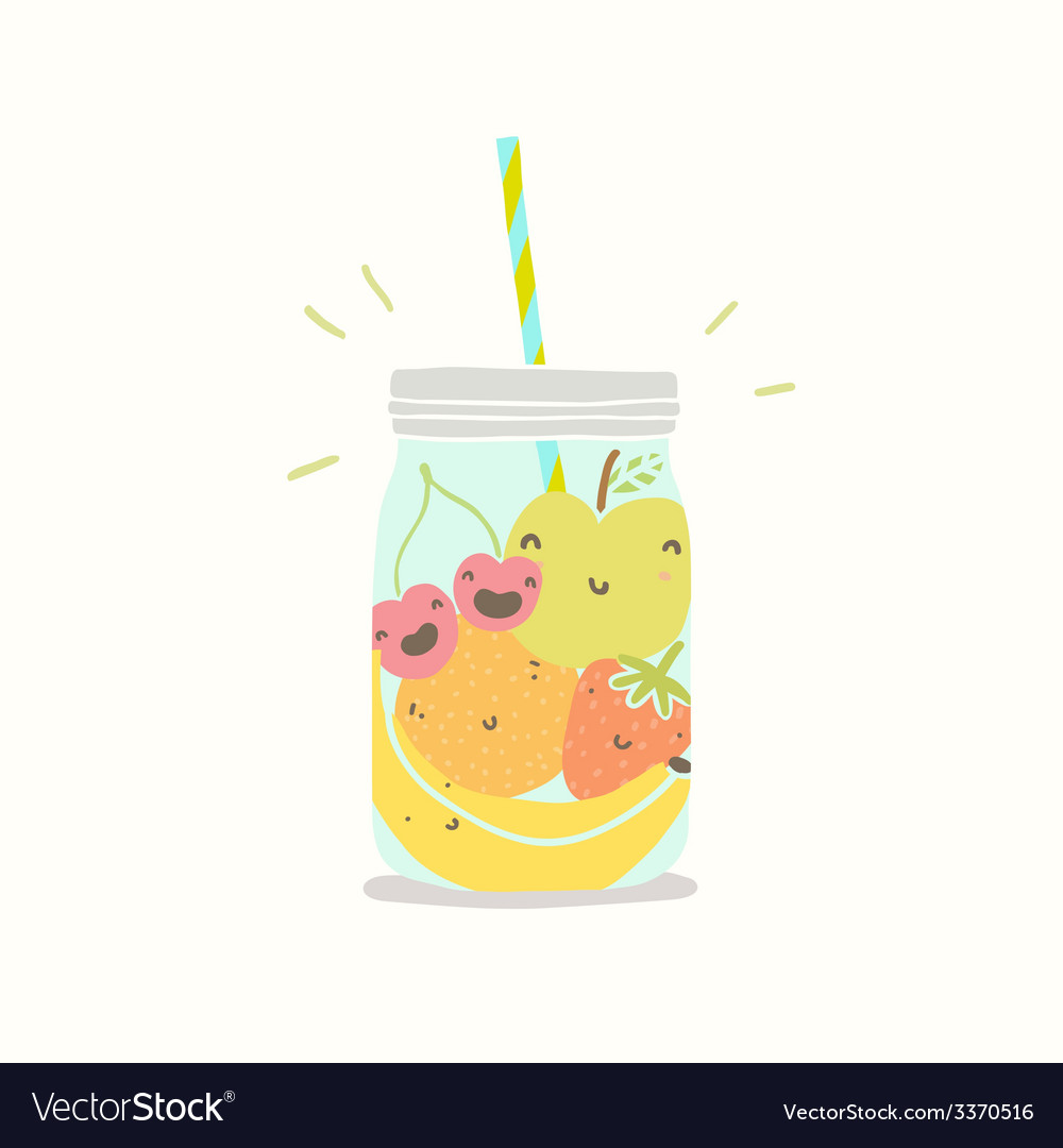 Fruits in smoothie jar vector | Price: 1 Credit (USD $1)