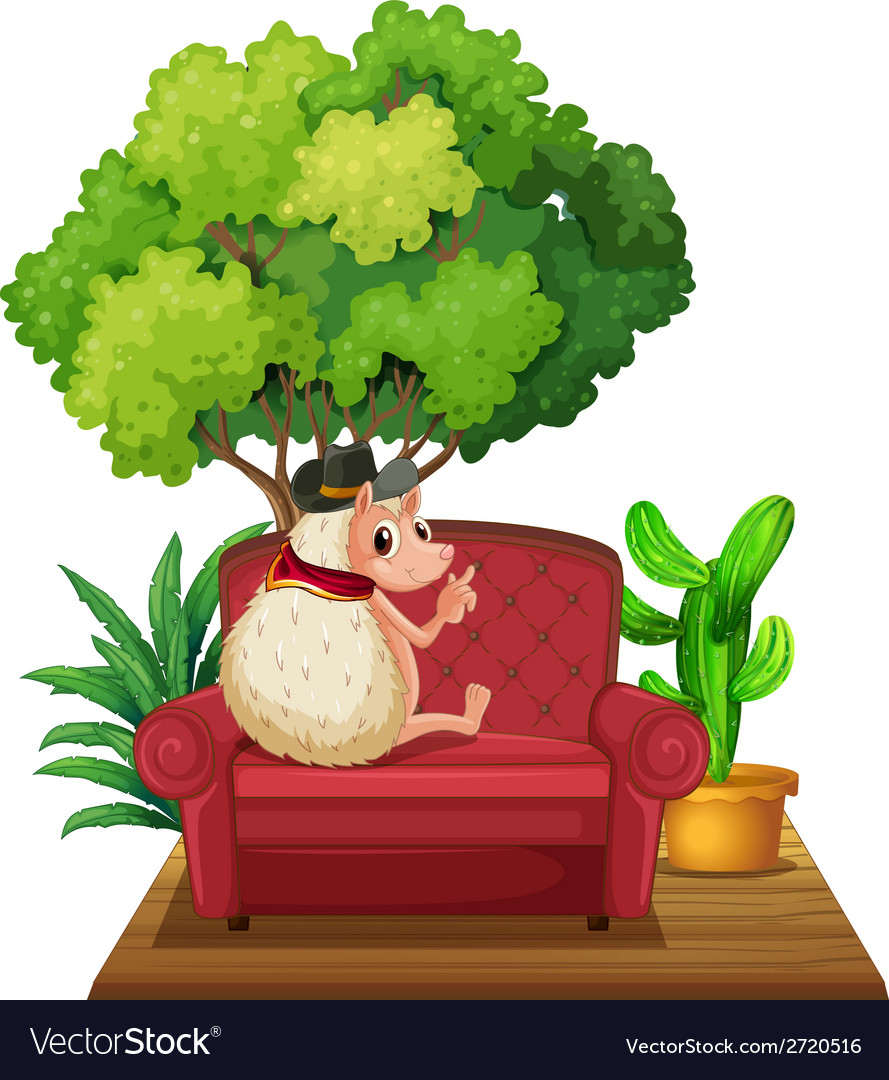 Hedgehog on sofa vector | Price: 1 Credit (USD $1)
