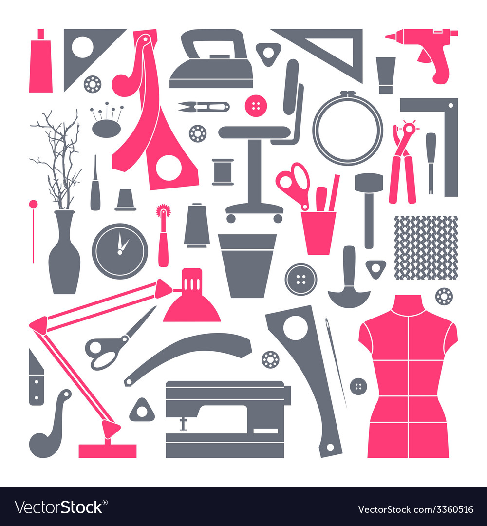 Icons set sewing and hobby tools vector | Price: 1 Credit (USD $1)
