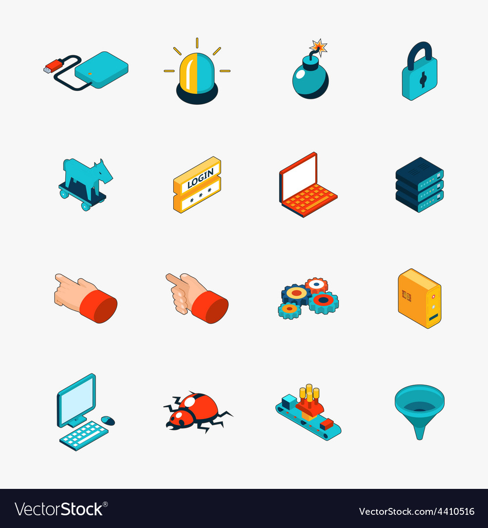 Isometric 3d internet security web icons vector | Price: 1 Credit (USD $1)