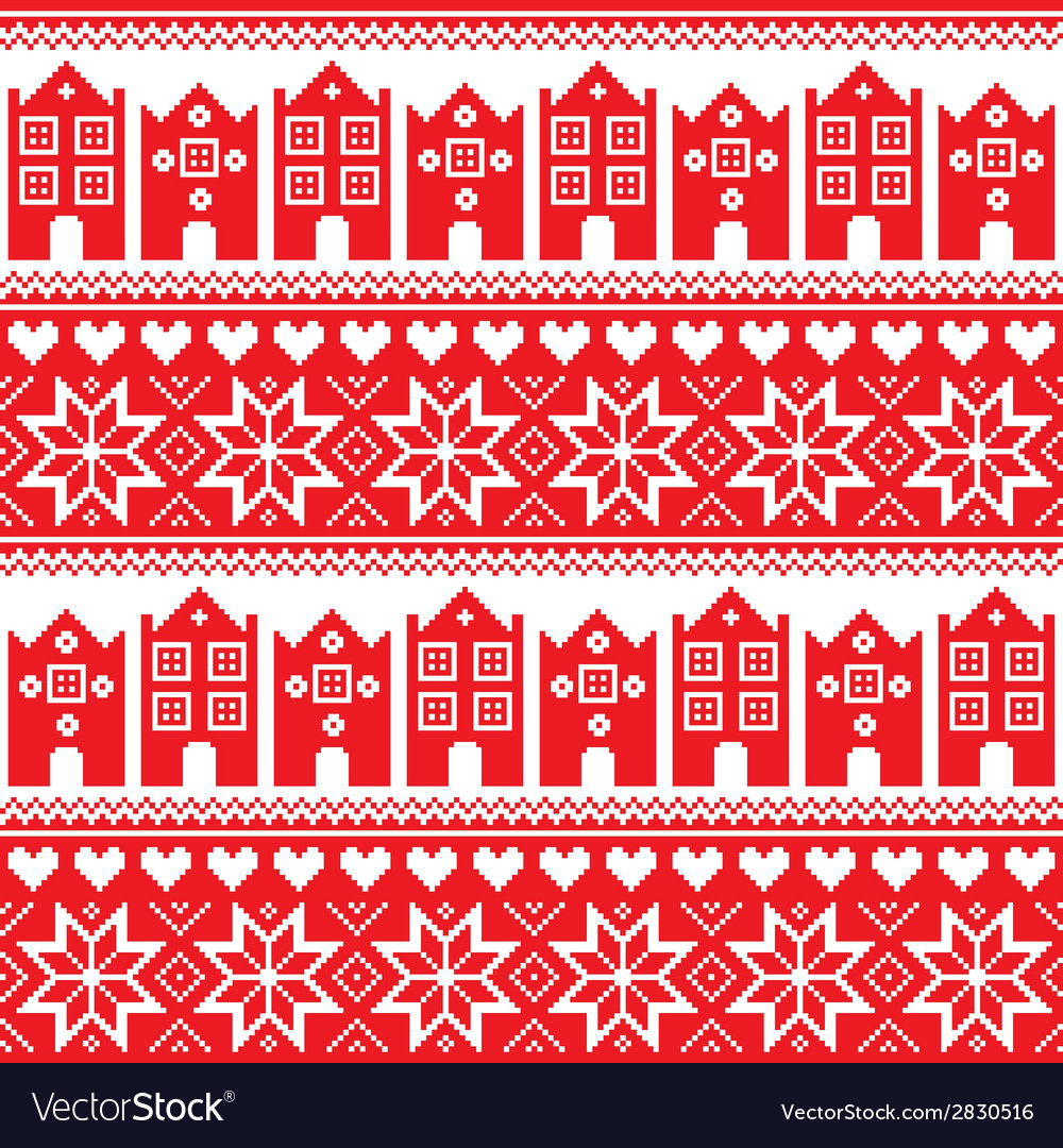 Nordic winter seamless red pattern with houses vector | Price: 1 Credit (USD $1)