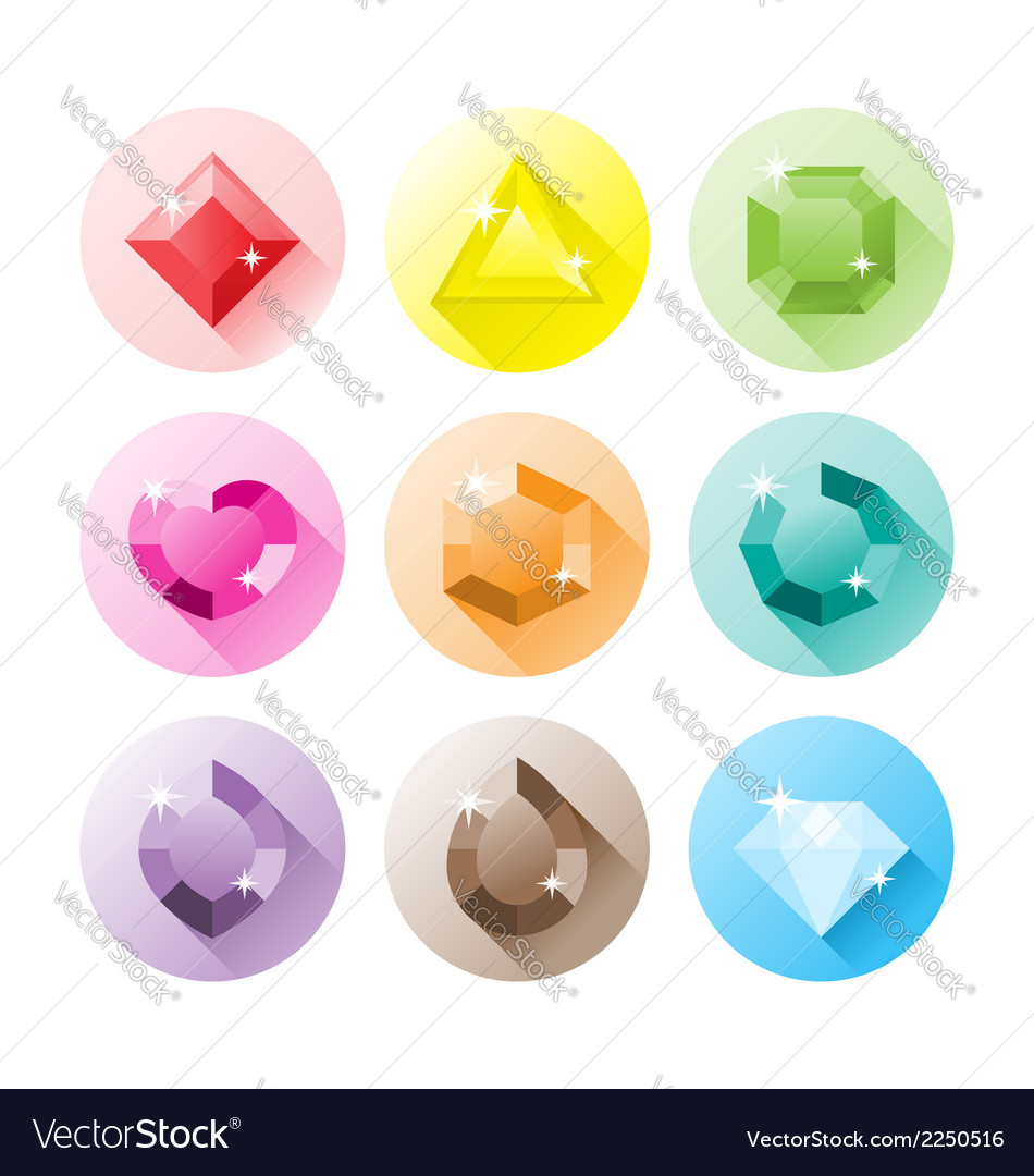 Precious gems icons vector | Price: 1 Credit (USD $1)