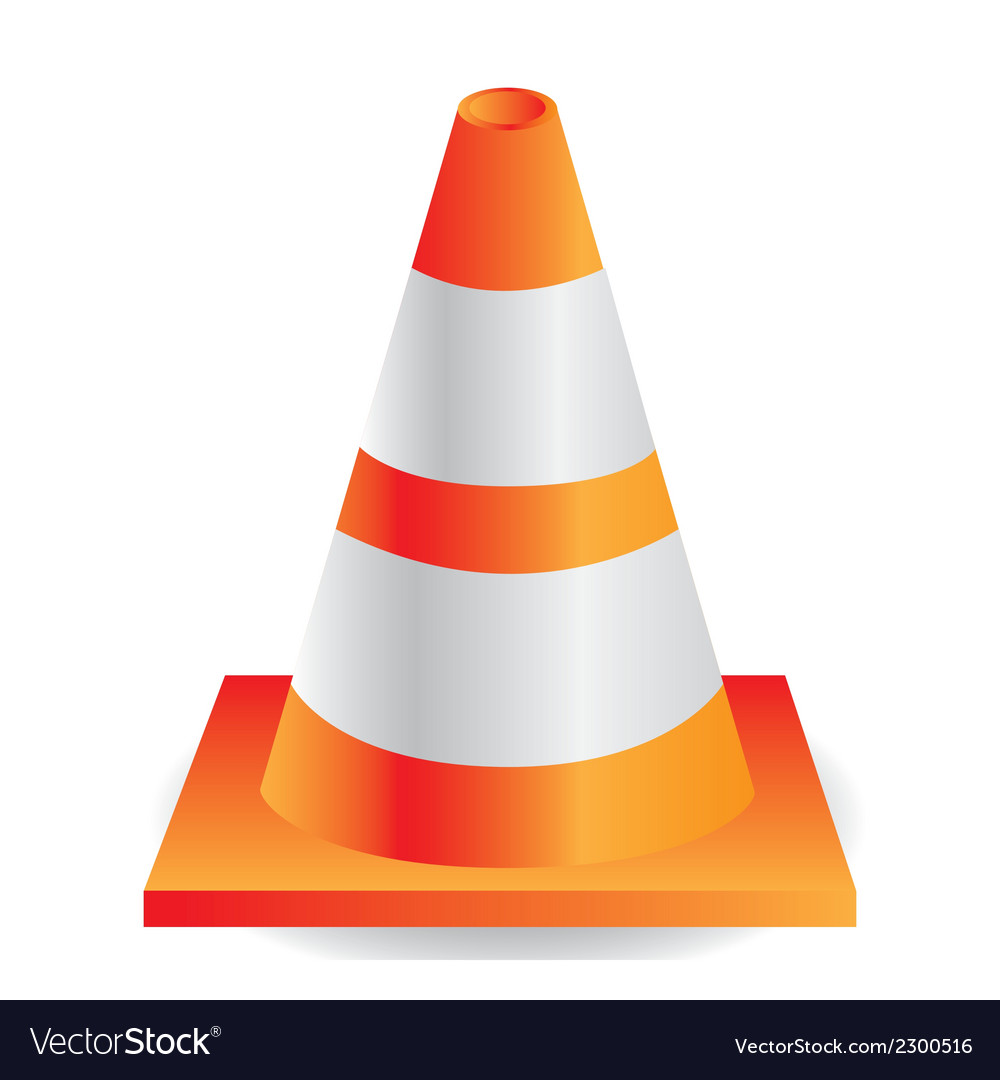 Traffic cone orange with white stripes vector | Price: 1 Credit (USD $1)