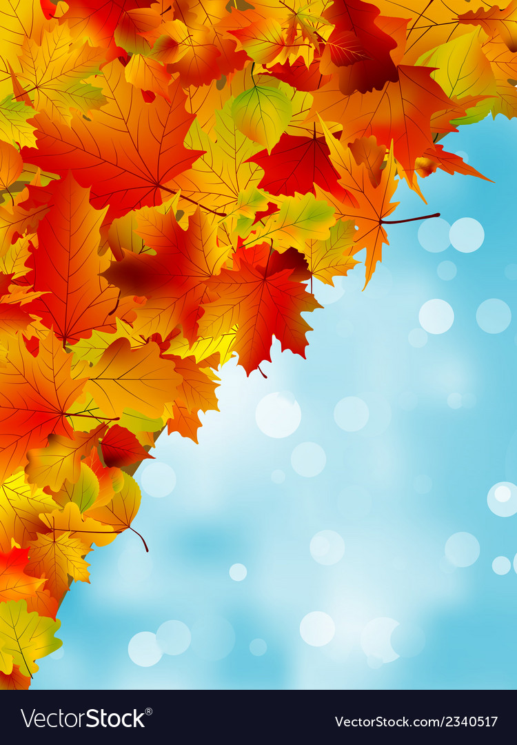 Autumn leaves on blue sky eps 8 vector | Price: 1 Credit (USD $1)