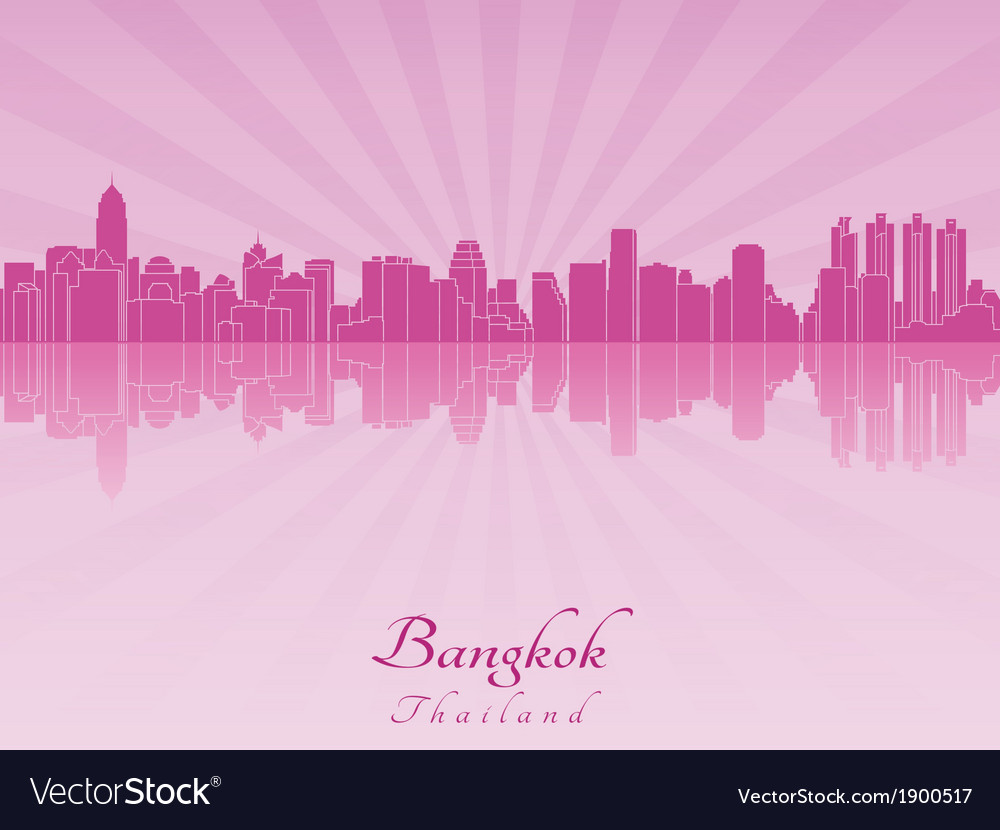 Bangkok skyline in purple radiant orchid vector | Price: 1 Credit (USD $1)