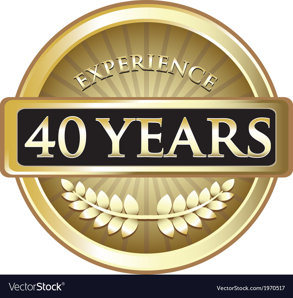 Forty years experience gold vector | Price: 1 Credit (USD $1)