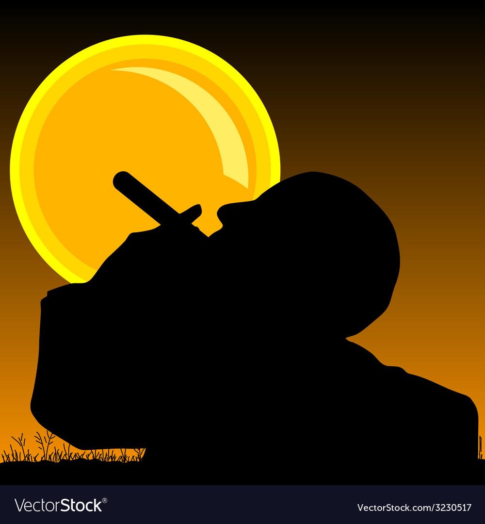 Man smoking cigarette and sun vector | Price: 1 Credit (USD $1)