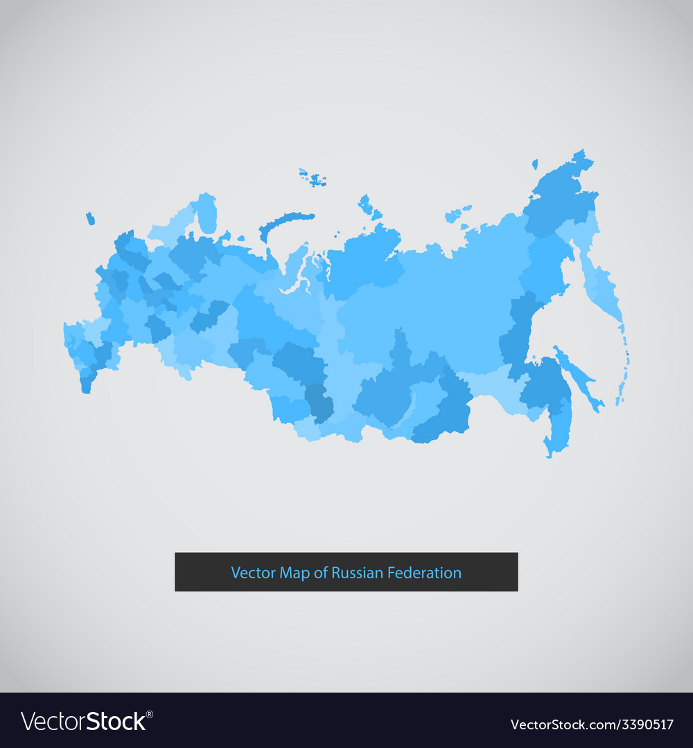 Mono color flat modern russia map set vector | Price: 1 Credit (USD $1)