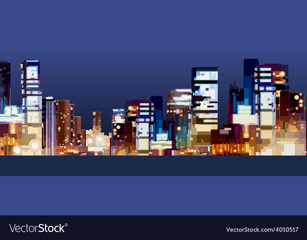 Panorama of the city at night vector | Price: 3 Credit (USD $3)