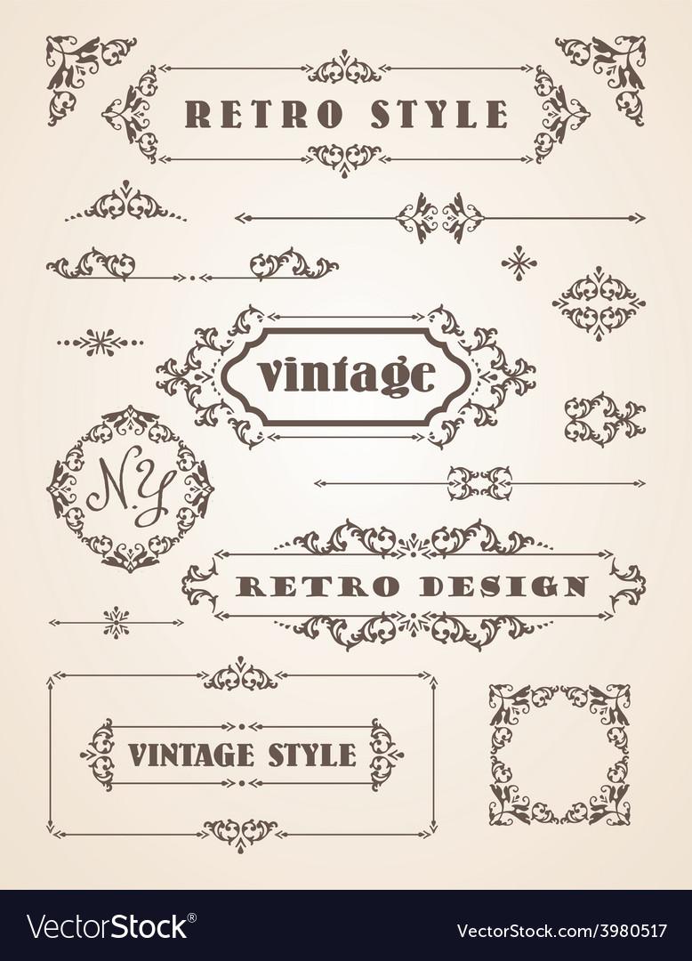 Set of retro vintage badges frames labels and vector | Price: 1 Credit (USD $1)