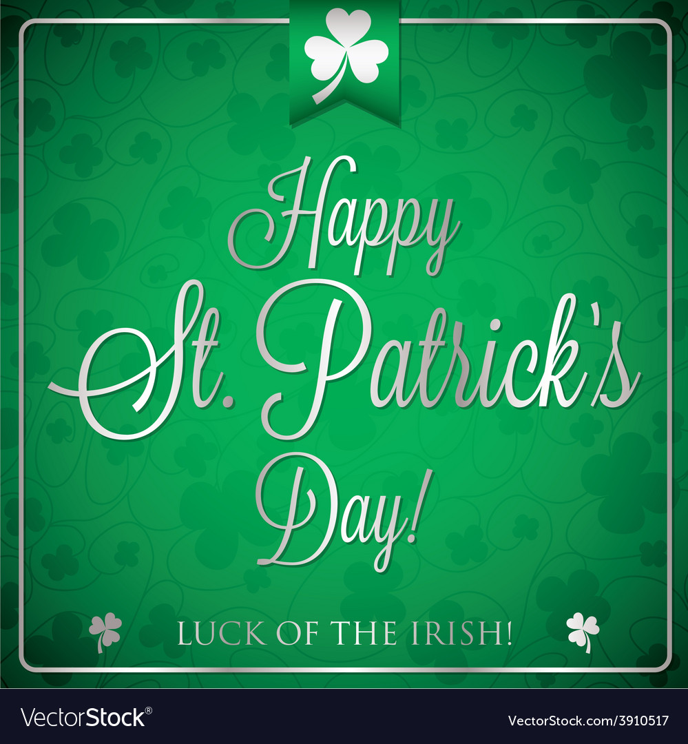 St patricks day typographic card in format vector | Price: 1 Credit (USD $1)