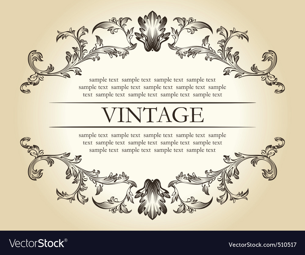 vintage royal retro frame ornament decor te vector | Price: 1 Credit (USD $1)