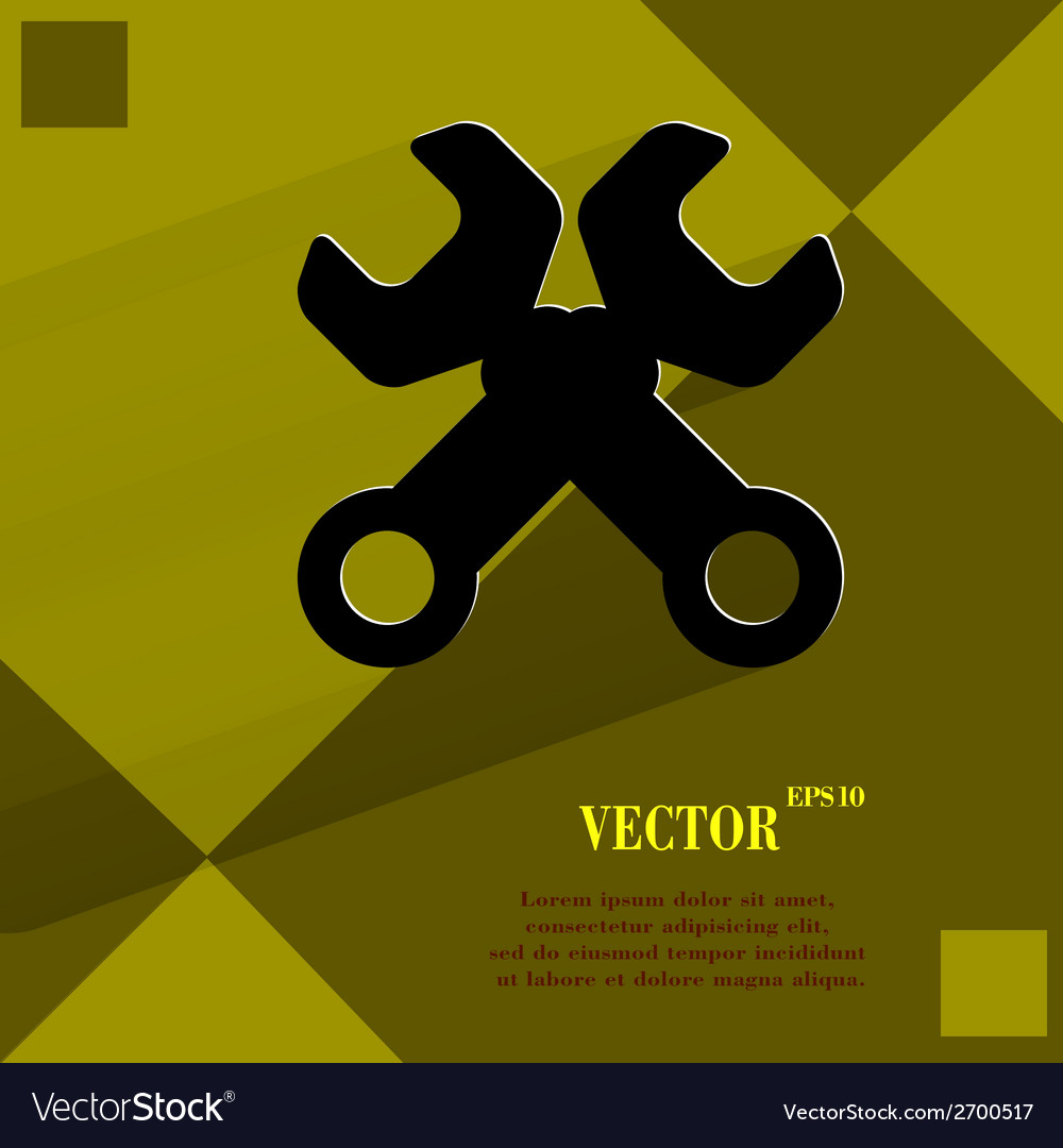 Wrench tool to work flat modern web design on a vector | Price: 1 Credit (USD $1)