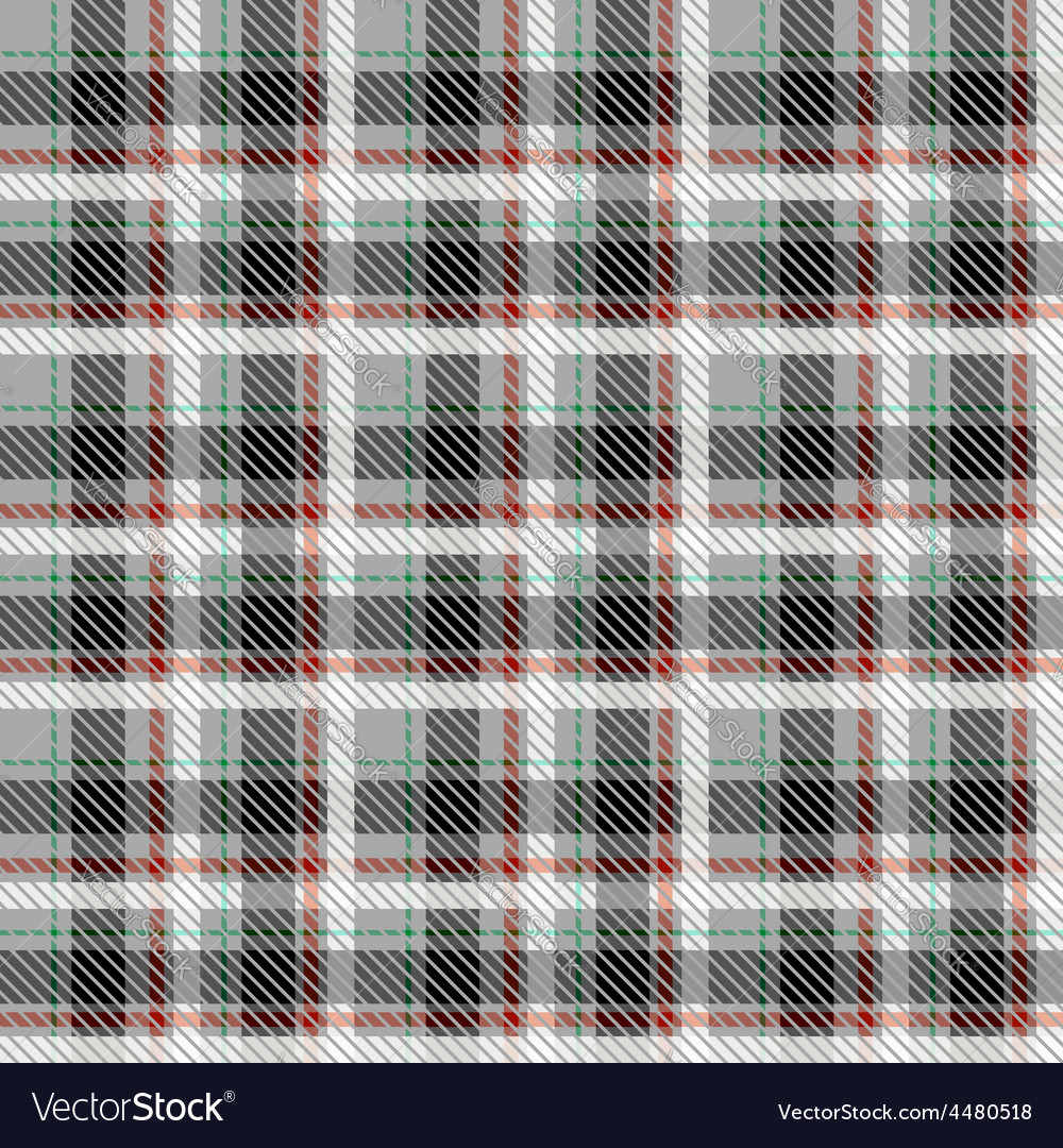 Black and white seamless tartan with thin red and vector | Price: 1 Credit (USD $1)