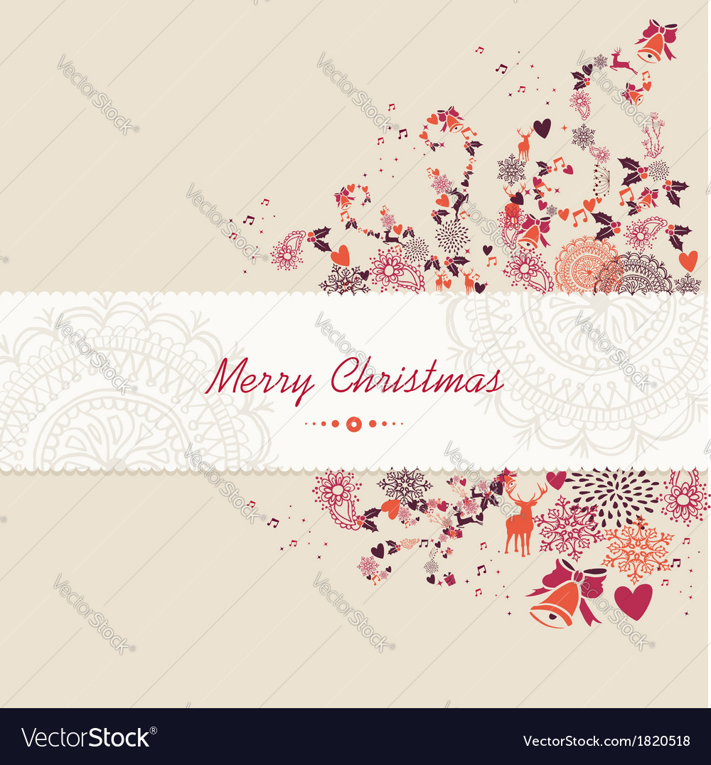 Christmas text vintage elements abstract vector | Price: 1 Credit (USD $1)