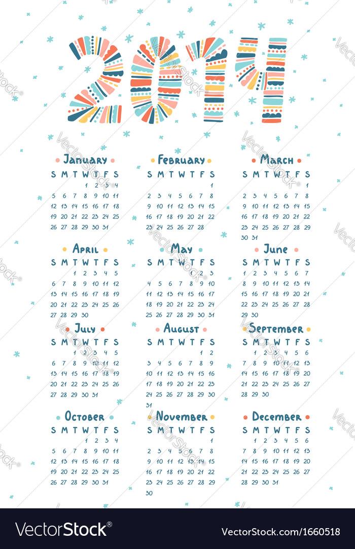 Cute doodle calendar 2014 vector | Price: 1 Credit (USD $1)