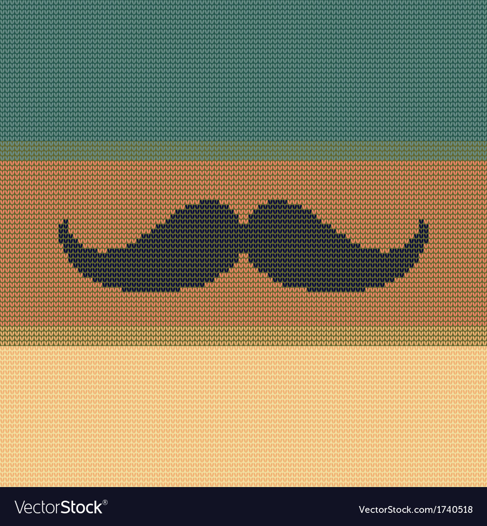 Hipster trend vintage knitted moustache on striped vector | Price: 1 Credit (USD $1)