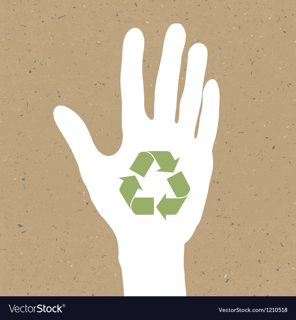 Reuse sign on hand silhouette on recycled paper e vector | Price: 1 Credit (USD $1)