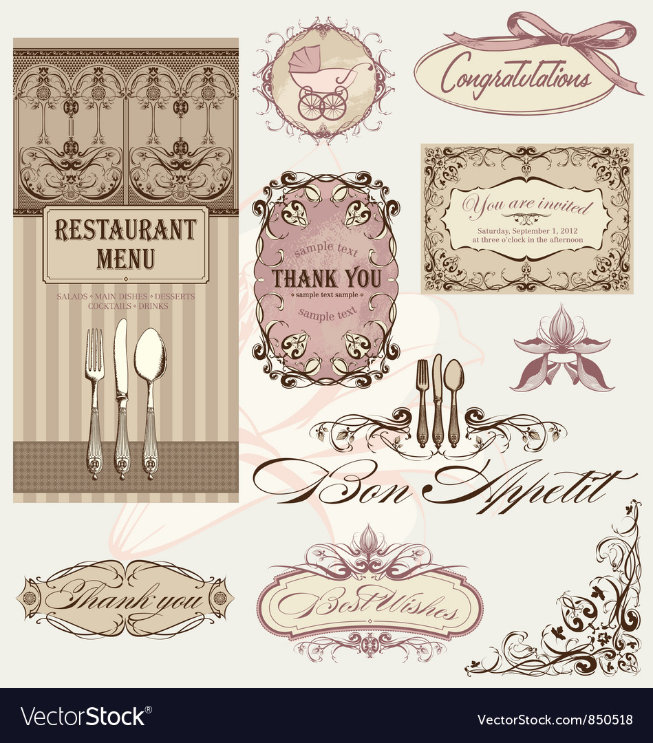 Vintage frames and decoration vector | Price: 1 Credit (USD $1)