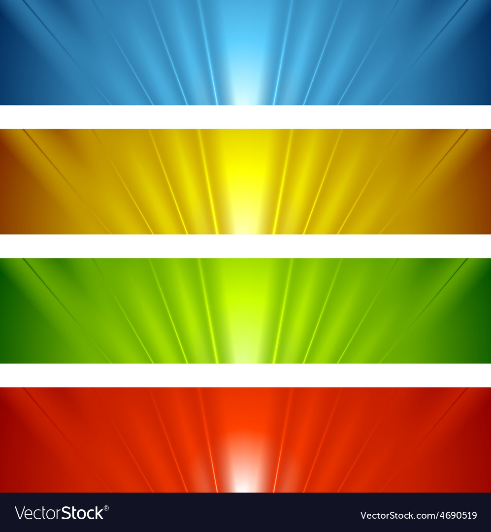 Abstract banners with bright glow beams vector | Price: 1 Credit (USD $1)