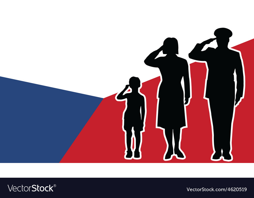 Czech republic soldier family salute vector | Price: 1 Credit (USD $1)