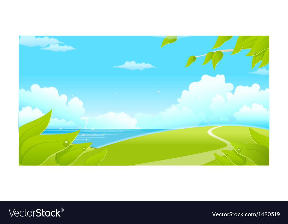 Green landscape with sea and blue sky vector | Price: 1 Credit (USD $1)