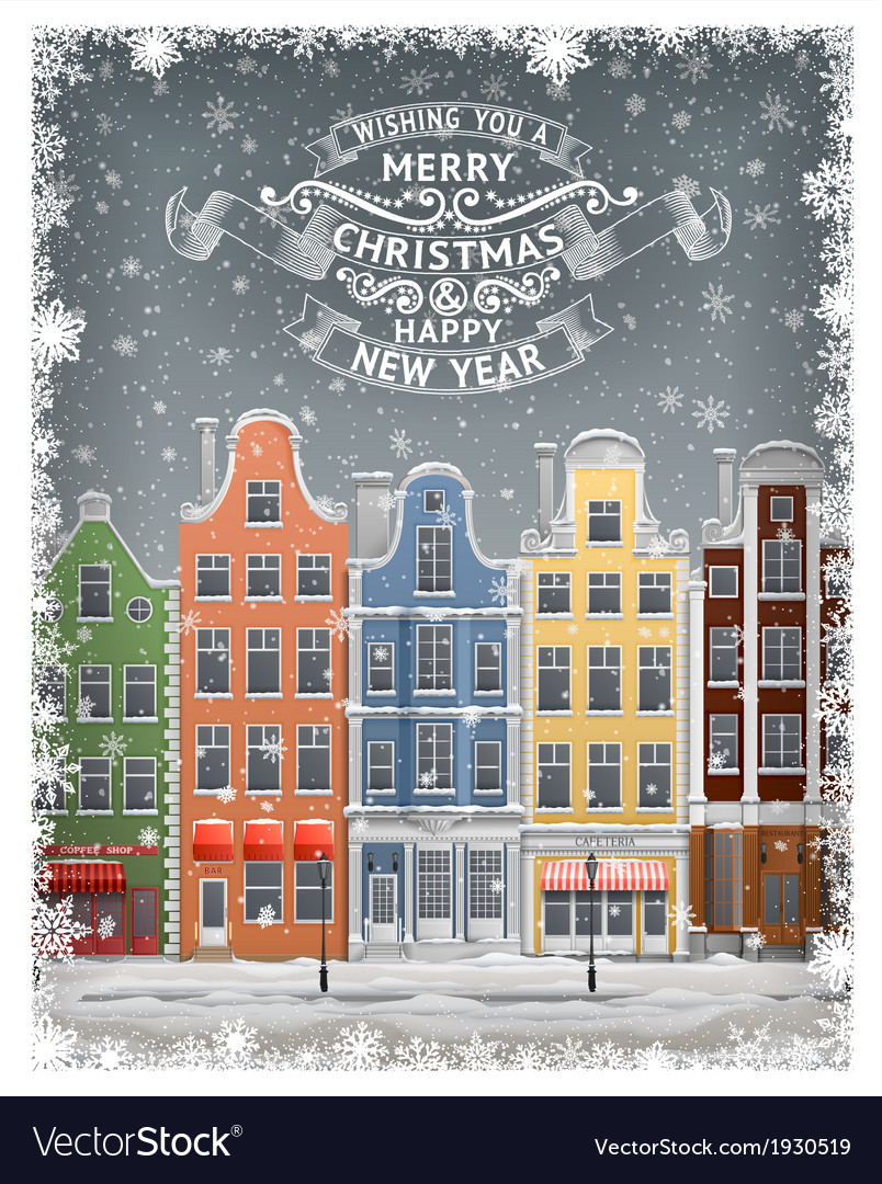 Greeting card with winter town vector | Price: 1 Credit (USD $1)