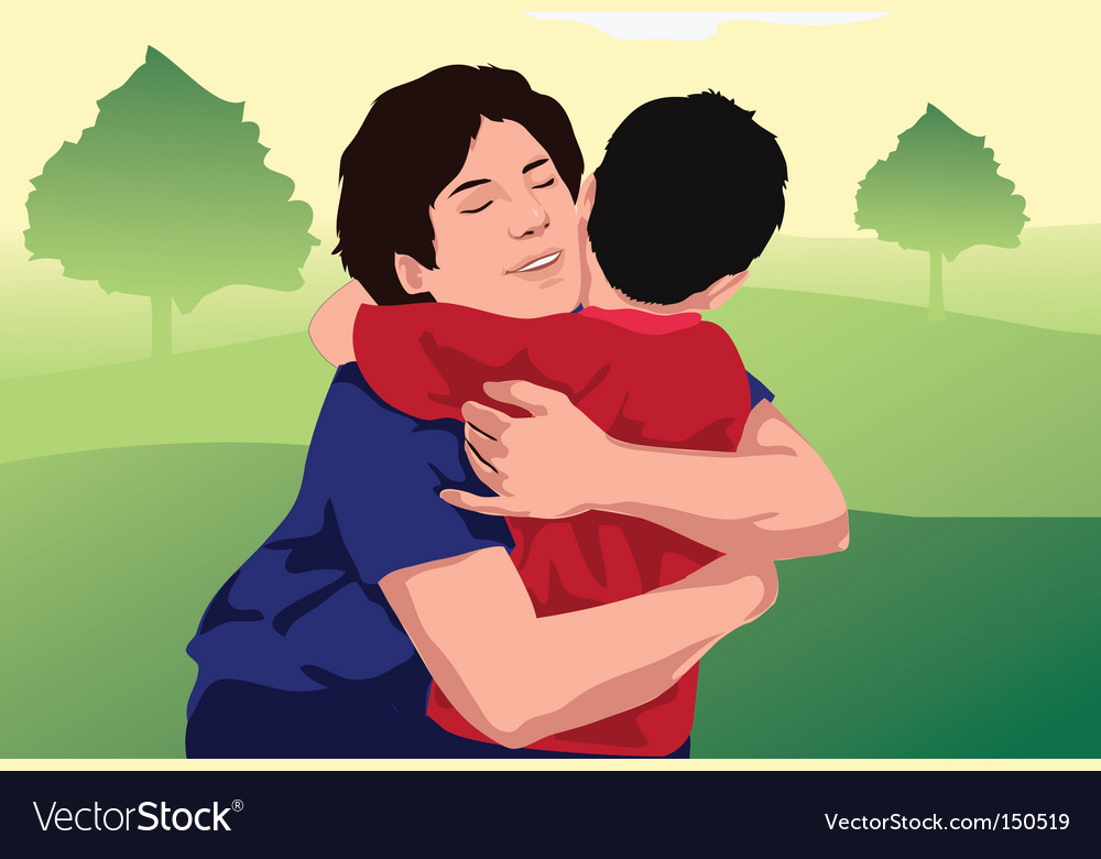 Hug kid vector | Price: 1 Credit (USD $1)