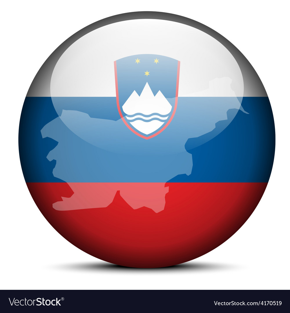 Map on flag button of republic slovenia vector | Price: 1 Credit (USD $1)